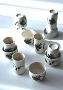 Chinesisches Riechbecher / Trinkschalen Set 'Sketches 1' für die Teeverkostung