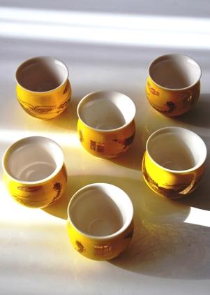 Chinesisches Teebecher / Teetassen Set 'Golden Phoenix', Porzellan, doppelwandig, henkellos