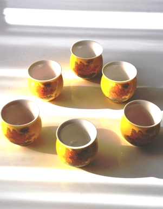Chinesisches Teebecher- / Teetassen-Set, Porzellan, doppelwandig, henkellos