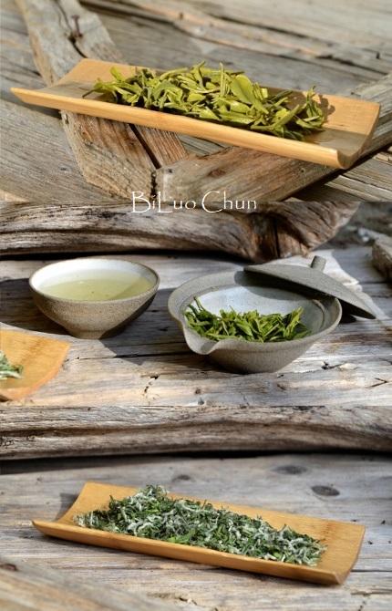 """Bi Luo Chun Grüner Tee von der Insel Dongting im Lake-Tai-See (""""Tai Hu""""), Jiangsu, China"""