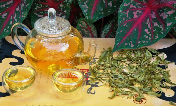 Anji Bai Cha Grüner Tee: Aufguss und nasse Teeblätterün