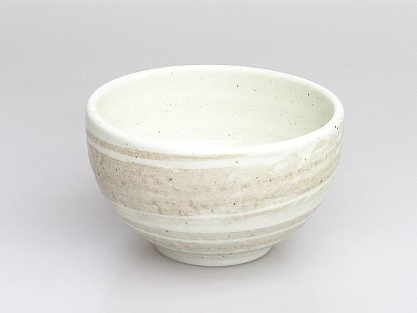 Japanische Matcha-Schale (Chawan), cremefarben, Keramik-Handarbeit, 13 x 8 cm