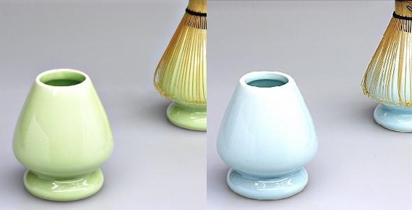 Matcha-Besenständer, Porzellan, grün oder blau