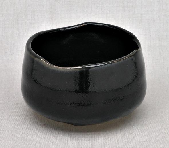 Handgearbeitete japanische Matcha-Tee-Schale, schwarz, 11 x 7,5 cm