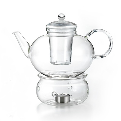 (Glas-) Teekanne mit Stövchen, Set Telja