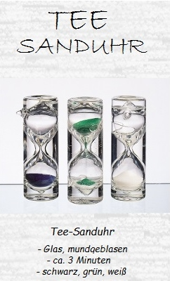 Sanduhr, Set 'Tea Time', mundgeblasen, 3 Farben grün, blau, weiß, 1-3 Minuten