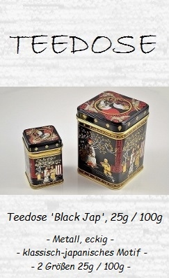 Teedose 'Black Jap' 25g + 100g - Metall, eckig