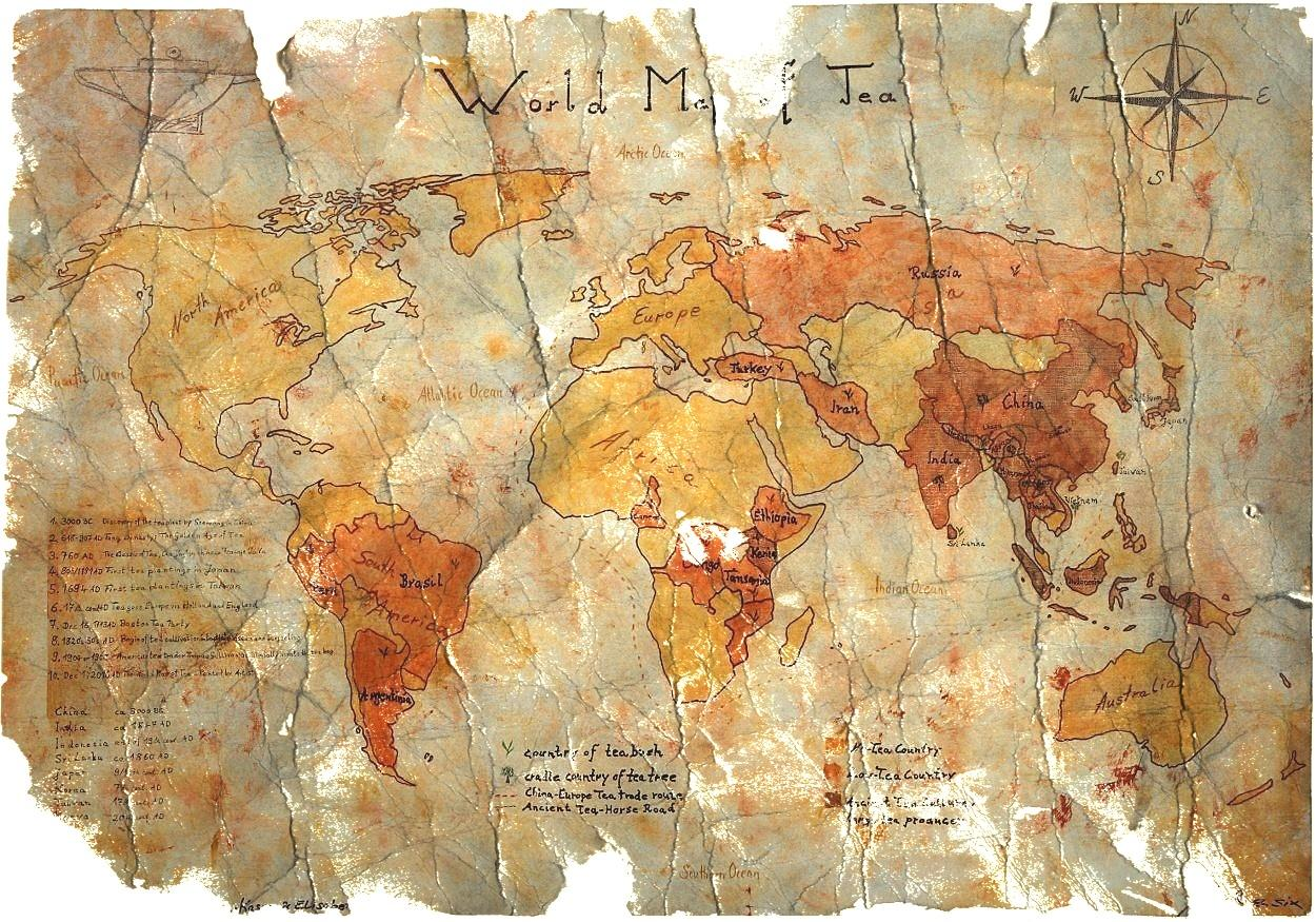The World Map of Tea - Painted by Artist : Vintage-Style