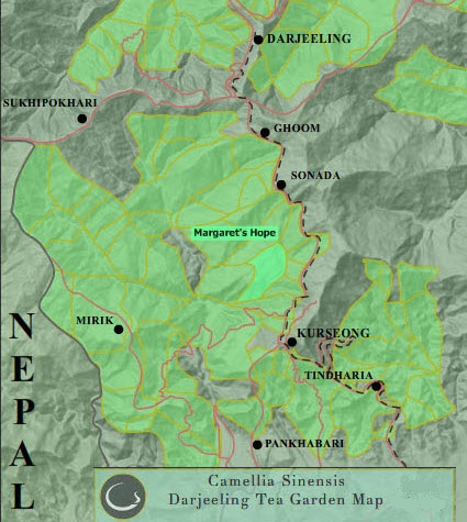 Landkarte Darjeeling Tee-Estates : Margaret's Hope Teegarten