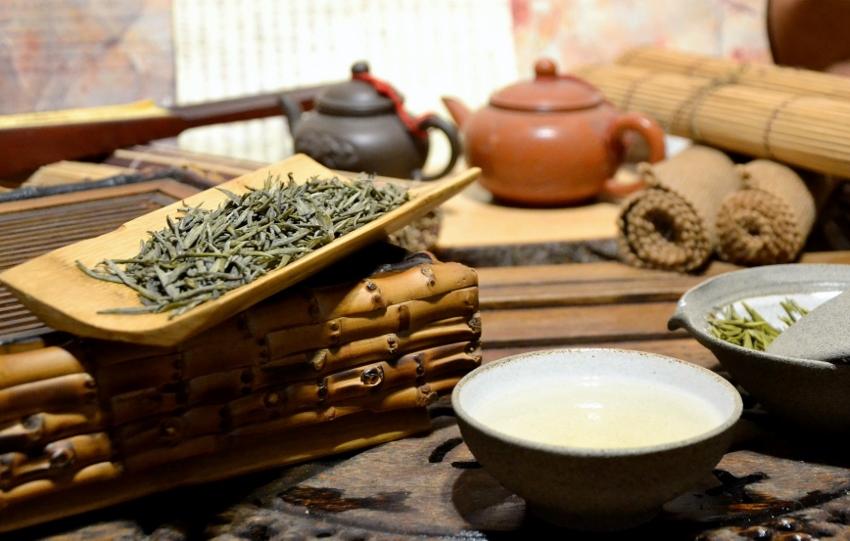 yellow silver needle tea from Junshan island, Dongting Lake, Hunan, China