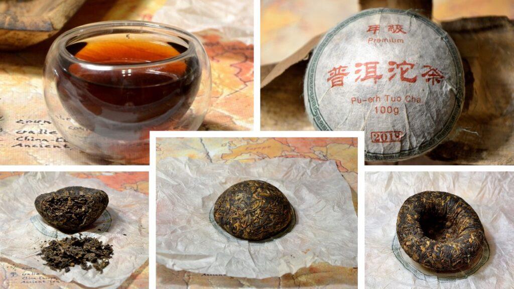 "Wokan Shan ripened (""shou"") pu erh tea pressed in nest / mushroom shape"