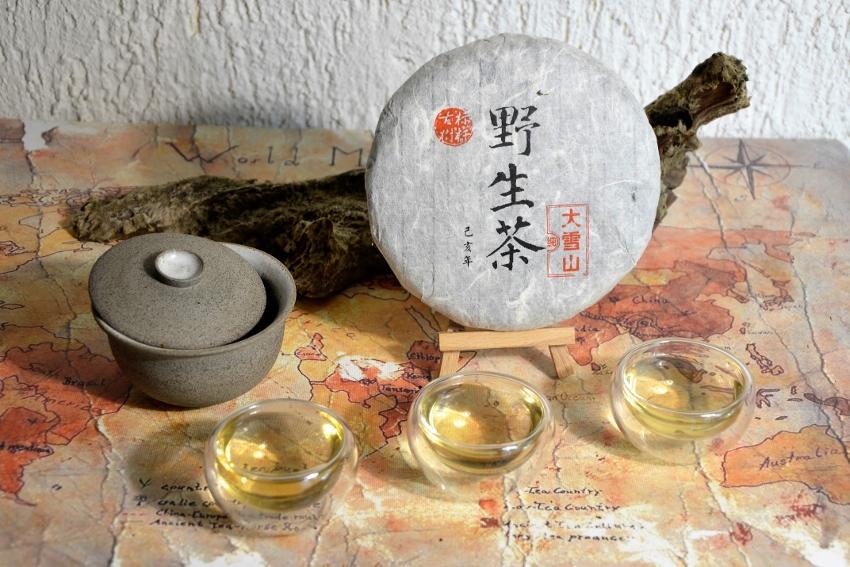 Da Xue Shan Ye Sheng Pu Erh Tea - unripened pu erh tea from wild growing tea trees in the forests of Da Xue Shan, Yongde district, Lincang prefecture, Yunnan, Southern China