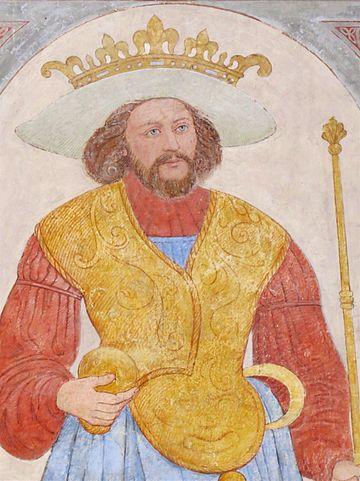 Fresque du XVIe siècle représentant Harald, le roi du Danemark, lors de son baptême