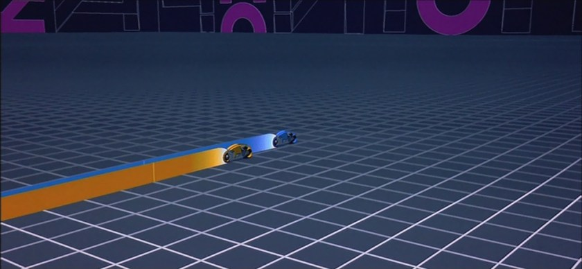 Tron - Lightcycle blu di Sark e arancione