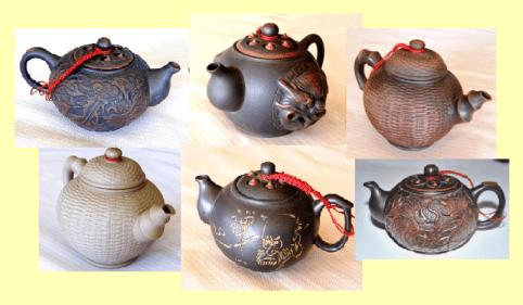 Teekannen im Siam Tee Shop, Herkunft: Taiwan, Collage