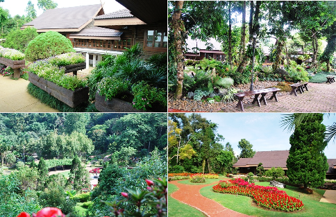 Royal Villa, Royal Palace, Royal Residence, Doi Tung, North Thailand, Collage