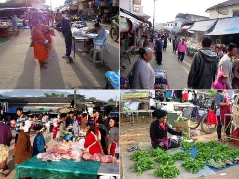 Afternoon market in Ban Therd Thai