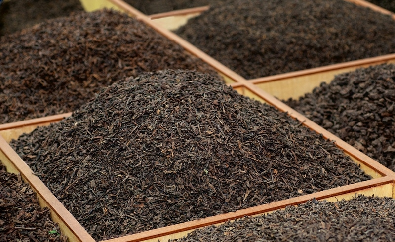 Single variety Indian black teas on display