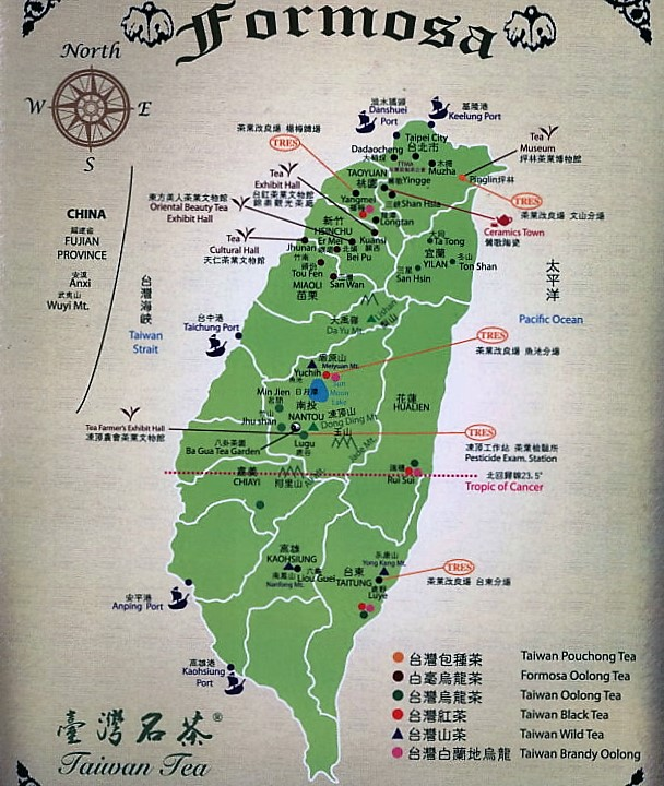 Tea areas in Taiwan - Map