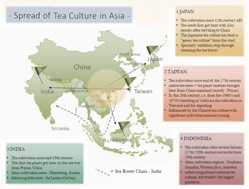 My Little Tea School - The ABC of TEA, Lesson 10/3 : Tea Cultures of the World (3) - Spread of Tea Culture in Asia - Map