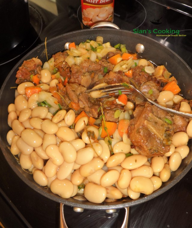 braised oxtail with butter beans