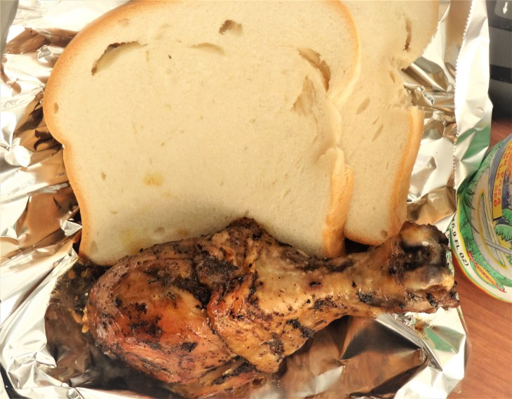 Hardough Bread with Jerk Chicken