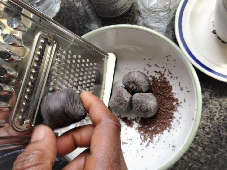 grating chocolate balls