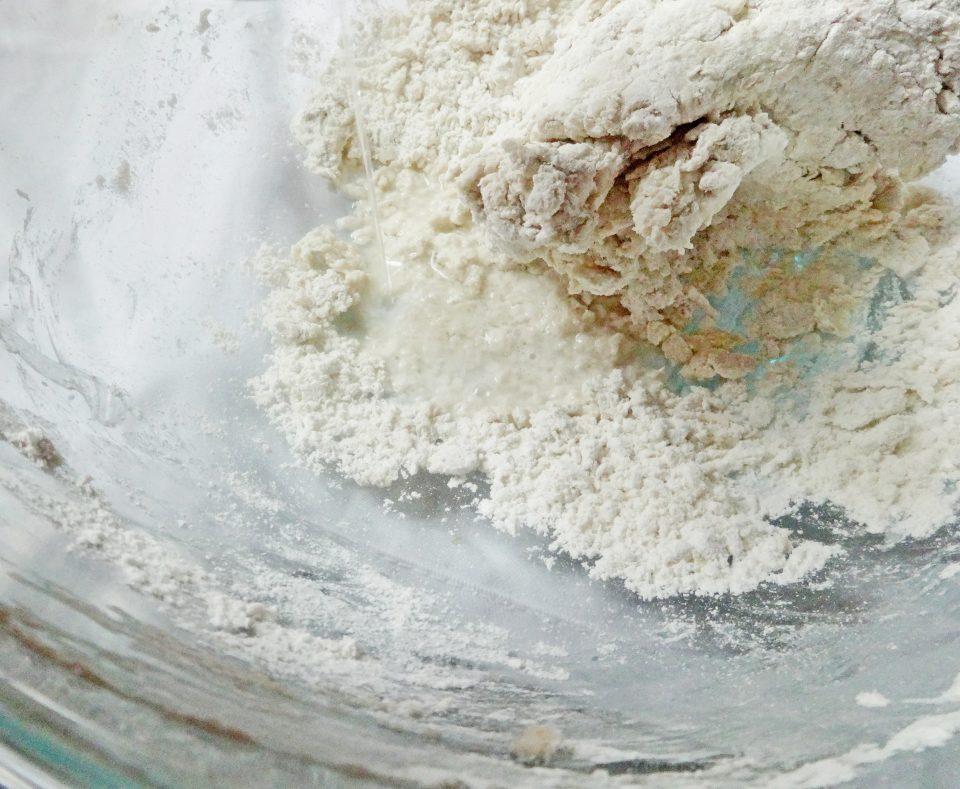 mixing dough for dumplings