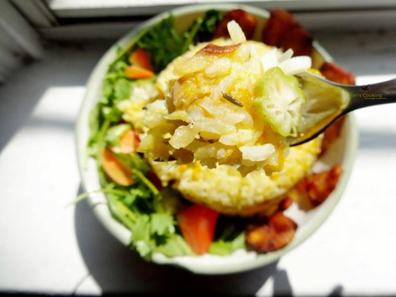 pumpkin rice with saltfish