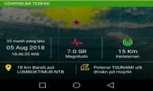Tsunami Terdeteksi setinggi 10-14 Centimeter di Pantai Carik dan Badas Lombok Utara