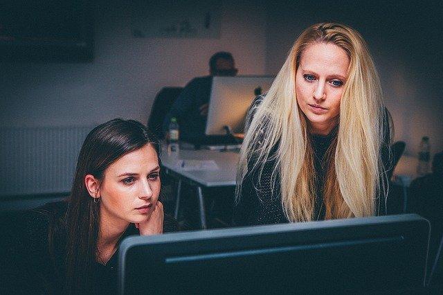 Women working in an office.