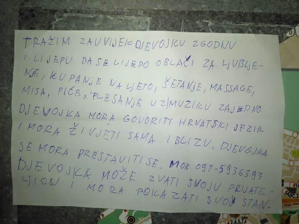 Ovaj oglas morate pročitati: Dalmatinac traži djevojku za
