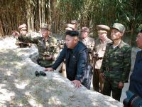 Leader of the Democratic People's Republic of Korea (DPRK) Kim Jong-un during a shell firing exercise