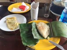 Pancakes in banana leaf and omelette on day 2