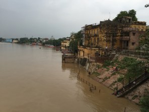 The ghats were almost completely submerged due to the high water