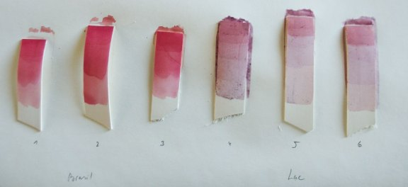 Samples of leather dyes in different number of layers