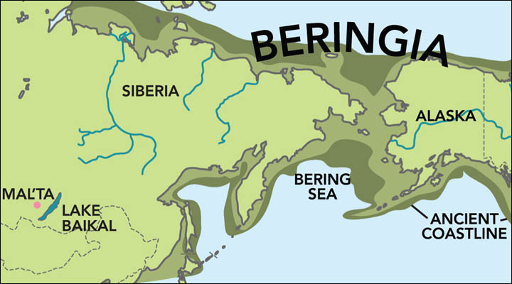 Malta boy, map of Beringia