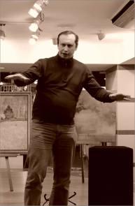 Поэт Яков Семочкин. Творческий вечер Юрия Татаренко в галерее Джазиум. Фото Александра Симушкина