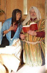 Margaret and Guy enact the Nativity