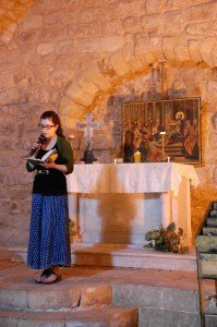 Elizabeth reading the gospel in the synagogue church - Nazareth