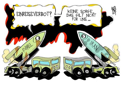 Günther Grass wird von Israel mit einem Einreiseverbot belegt Cartoon: Kostas Koufogiorgos