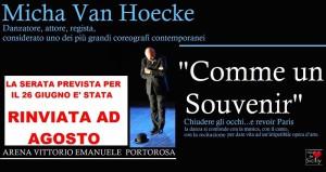 Locandina rinvio Micha Van Hoecke