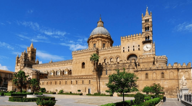 """The capital of Sicily is built along the bay at the foot of Monte Pellegrino. Palermo owes its name to the sea: it was originally called Panormus, or """"port"""", in Phoenician times."""