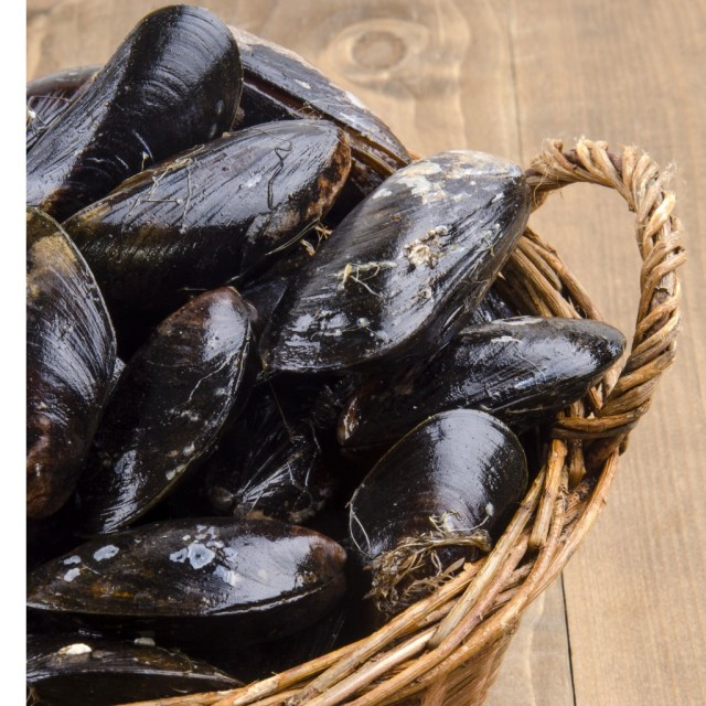 fresh-and-uncleaned-mussels-in-a-wicker-basket-picture-id471581436
