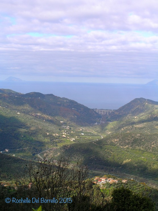 Sicilian view from a belvedere looking at Aeolian Islands