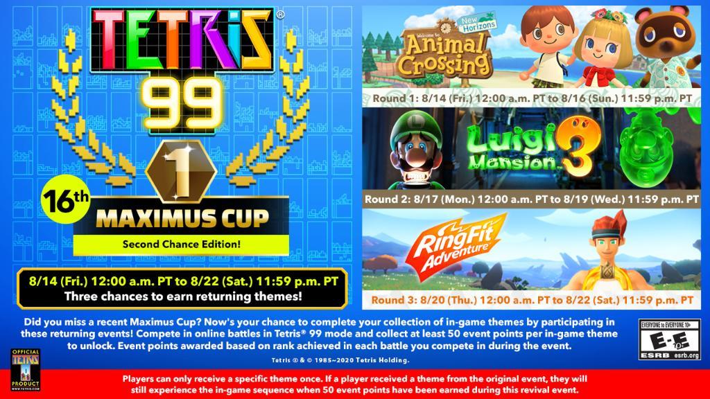 Tetris 99 16th Maximus Cup Event Runs For An Entire Week