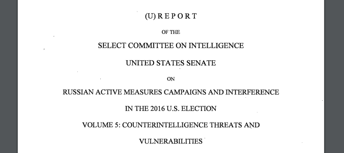 cover page of Senate Intelligence Committee report
