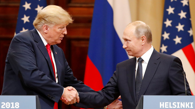 Trump and Putin shaking hands