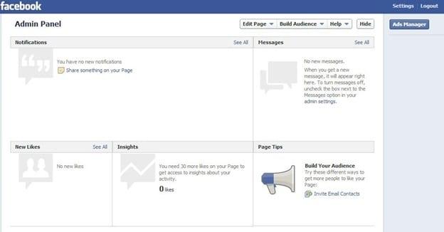 Facebook admin Panel