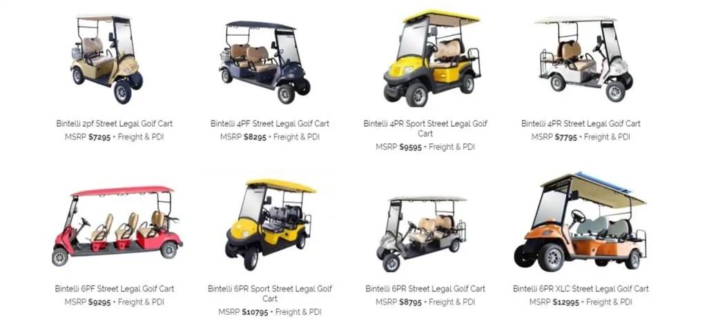 Bintelli golf cart options